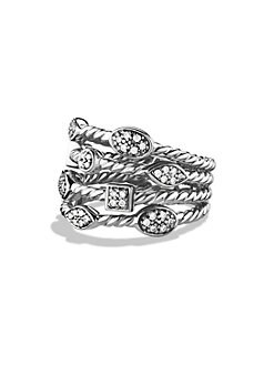David Yurman - Diamond & Sterling Silver Open Cable Ring