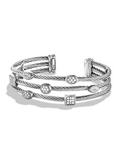David Yurman - Diamond & Sterling Silver Open Cable Bracelet