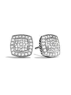 David Yurman - Pavé Diamond & Sterling Silver Button Earrings