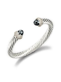 David Yurman - Hematite, Diamond & Sterling Silver Bangle Bracelet