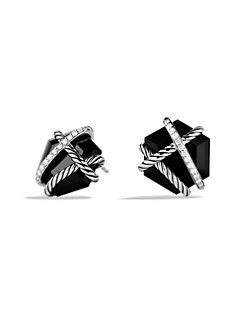 David Yurman - Black Onyx, Diamonds & Sterling Silver Button Earrings