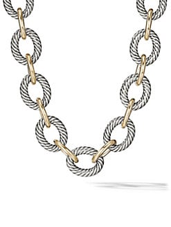 David Yurman - Sterling Silver & 18K Yellow Gold Oval Link Necklace