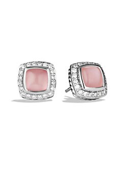 David Yurman - Diamond Accented Pink Chalcedony Stud Earrings