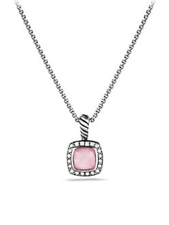 David Yurman - Diamond Accented Pink Chalcedony Pendant Necklace