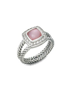 David Yurman - Petite Albion Ring with Rose Quartz and Diamonds