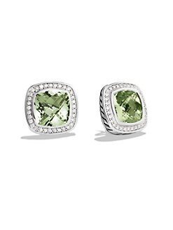David Yurman - Prasiolite, Diamond & Sterling Silver Button Earrings