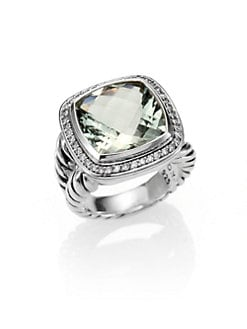 David Yurman - Prasiolite, Diamond & Sterling Silver Ring/.75