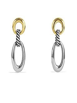 David Yurman - Sterling Silver & 18K Yellow Gold Link Earrings