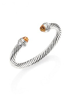 David Yurman - Citrine, Diamond & Sterling Silver Cuff Bracelet