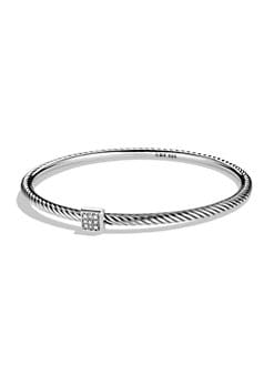 David Yurman - Pave Diamond & Sterling Silver Cable Bracelet