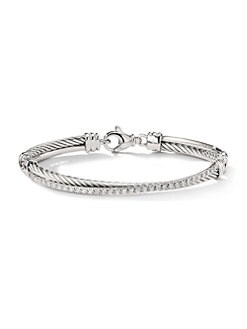 David Yurman - Diamond Accented Sterling Silver Bangle Bracelet