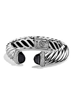 David Yurman - Diamond, Black Onyx & Sterling Silver Cable Bracelet