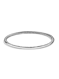 David Yurman - Sterling Silver Smooth & Cable Bangle