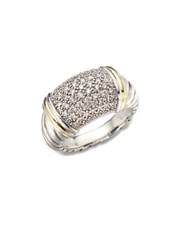 David Yurman - Pavé Diamond Accented 18K Gold & Sterling Silver Ring