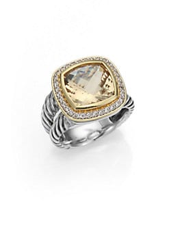 David Yurman - Champagne Citrine, Diamond, 18K Gold & Sterling Silver Ring