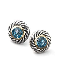 David Yurman - Blue Topaz, Sterling Silver & 18K Yellow Gold Button Earrings