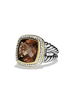 David Yurman - Smokey Quartz, Diamond, Sterling Silver and 18K Yellow Gold Ring