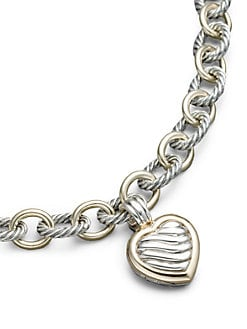 David Yurman - Sterling Silver & 18K Yellow Gold Heart Locket Enhancer
