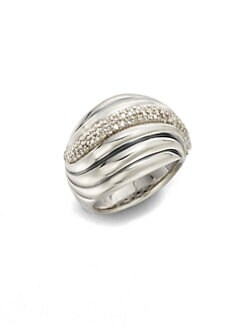 David Yurman - Diamond & Sterling Silver Sculpted Cable Ring