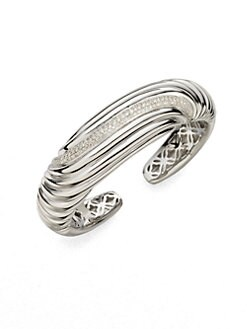 David Yurman - Diamond & Sterling Silver Sculpted Cable Cuff