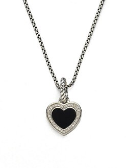 David Yurman - Diamond, Black Onyx & Sterling Silver Heart Enhancer