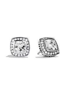 David Yurman - Diamond Accented White Topaz Sterling Silver Button Earrings