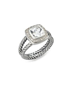 David Yurman - Diamond Accented White Topaz Sterling Silver Ring