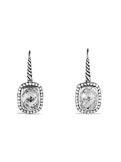 David Yurman - Diamond & White Topaz Sterling Silver Rectangular Earrings