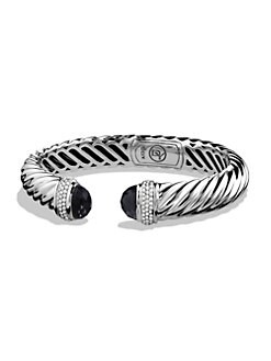 David Yurman - Black Onyx, Diamond & Sterling Silver Sculpted Cuff Bracelet