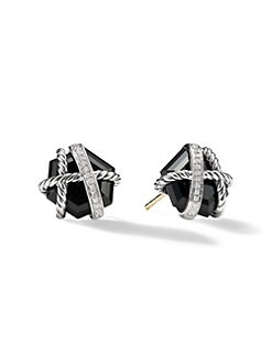 David Yurman - Black Onyx & Diamond Stud Earrings