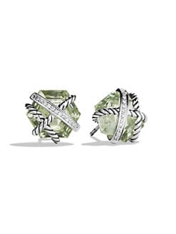 David Yurman - Prasiolite & Diamonds Stud Earrings