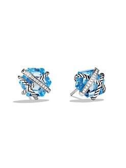 David Yurman - Blue Topaz & Diamond Stud Earrings