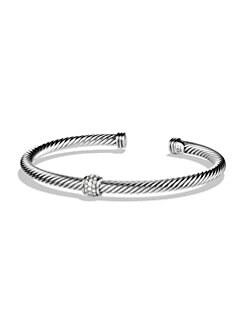 David Yurman - Pavé Diamond Sterling Silver Bangle Bracelet