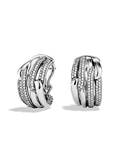 David Yurman - Diamond & Sterling Silver Hoop Earrings