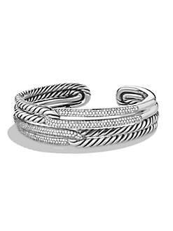 David Yurman - Diamond & Sterling Silver Double Loop Cuff Bracelet