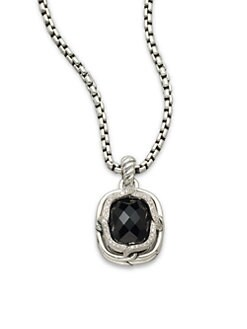 David Yurman - Diamond & Sterling Silver Enhancer/Black Onyx