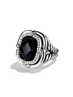 David Yurman - Diamond & Sterling Silver Ring/Black Onyx
