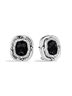David Yurman - Black Onyx & Diamond Sterling Silver Button Earrings