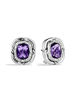 David Yurman - Amethyst & Diamond Button Earring