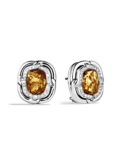 David Yurman - Citrine & Diamond Sterling Silver Button Earrings
