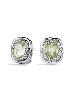 David Yurman - Prasiolite & Diamond Sterling Silver Button Earrings