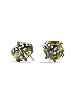 David Yurman - Lemon Citrine, Diamonds & Sterling Silver Stud Earrings