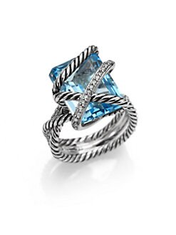 David Yurman - Blue Topaz, Diamond, Sterling Silver Ring