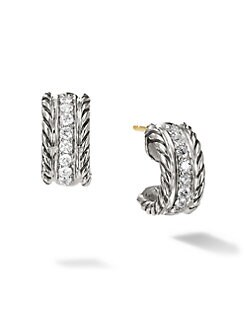 David Yurman - Diamond & Sterling Silver Huggie Earrings/&#189&#34