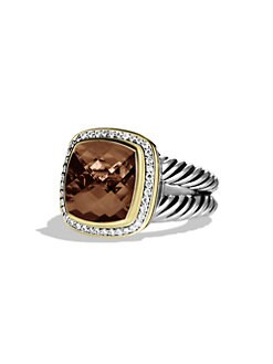 David Yurman - Smoky Quartz, Diamond, Sterling Silver & 18K Yellow Gold Ring