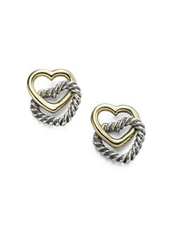 David Yurman - 14K Yellow Gold & Sterling Silver Heart Earrings