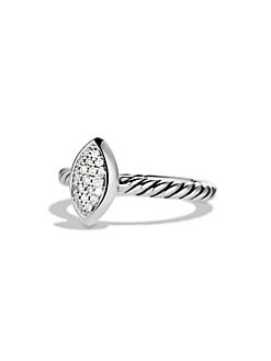 David Yurman - Pavé Diamonds & Sterling Silver Marquis Ring
