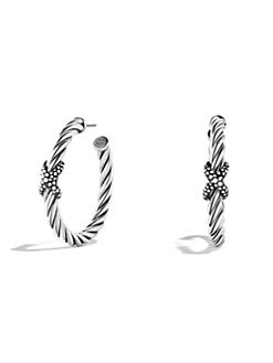 David Yurman - Diamond and Sterling Silver Hoop Earrings/2