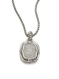 David Yurman - Pav&eacute; Diamond & Sterling Silver Large Pendant Necklace