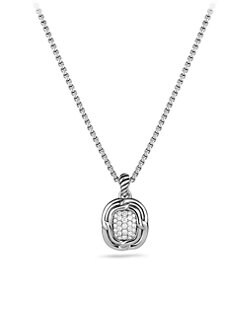 David Yurman - Pav&eacute; Diamond & Sterling Silver Small Pendant Necklace